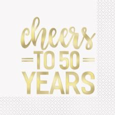 16 'cheers to 50 years' 50th Anniversary Napkins
